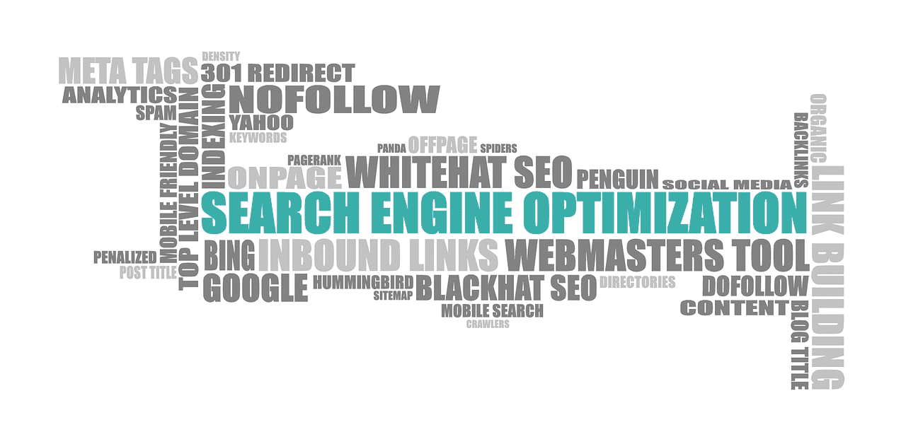 graphic design of words relating to search engine optimization